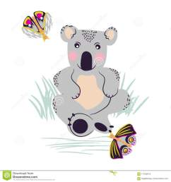 koala cute bear and moths on a meadow vector clipart  [ 1300 x 1390 Pixel ]