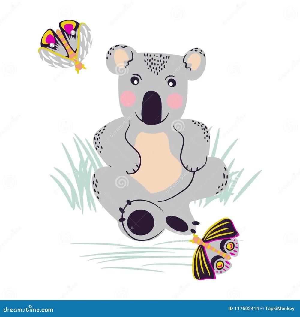 medium resolution of koala cute bear and moths on a meadow vector clipart