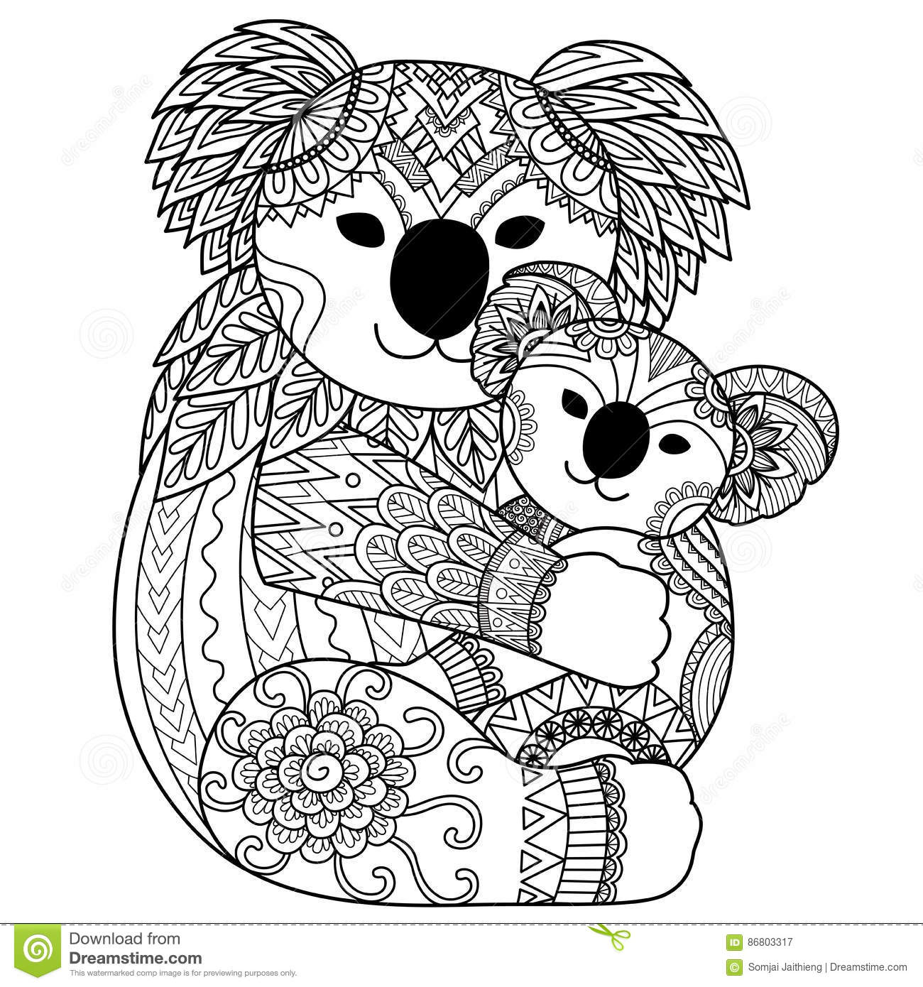 Koala Mother Cuddling Her Baby Cartoon Vector