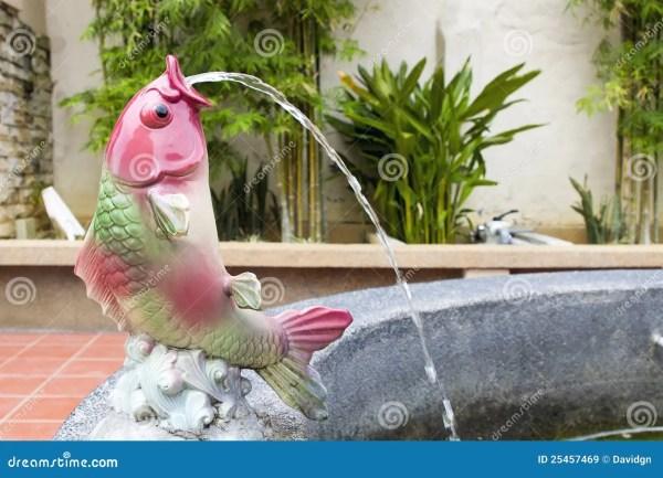 Koi Fish Statue Water Fountain Stock - Of
