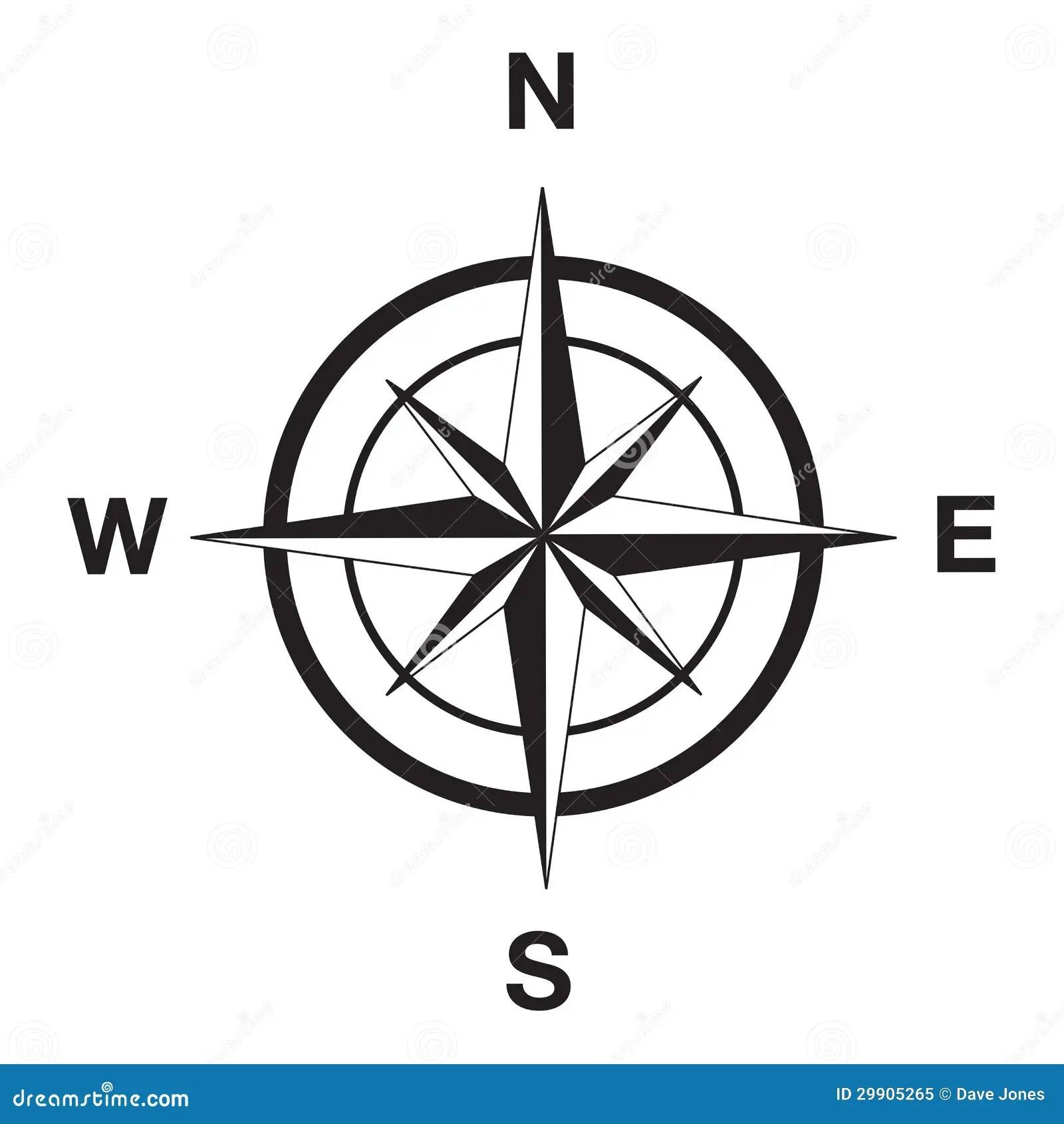 Kompassschattenbild Im Schwarzen Vektor Abbildung