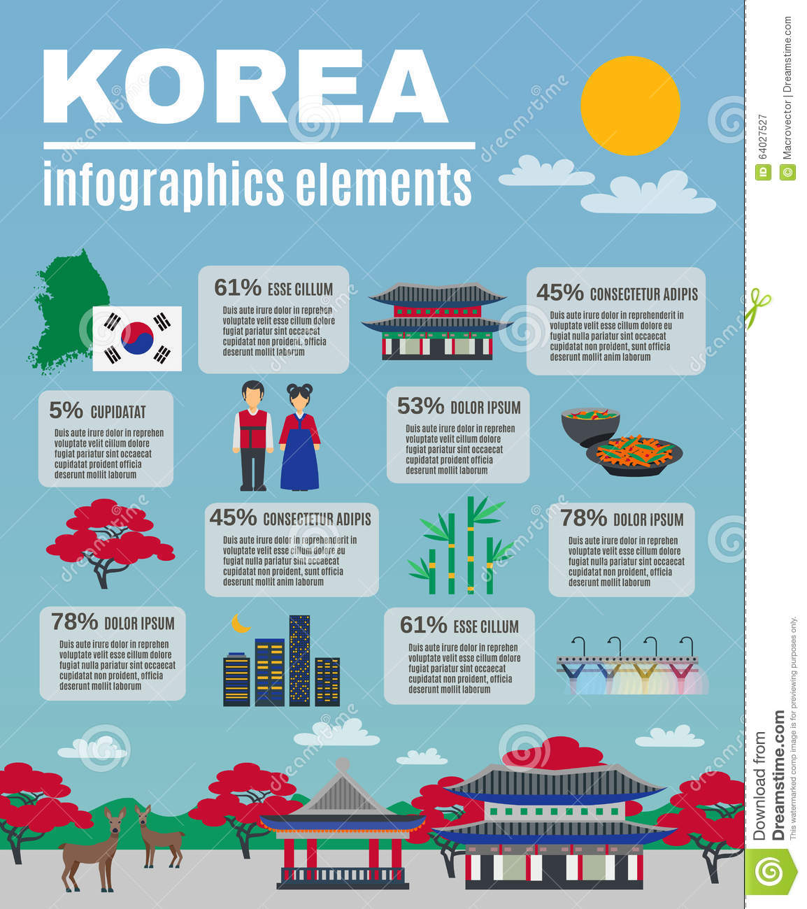 Korean Culture Infographic Presentation Layout Stock