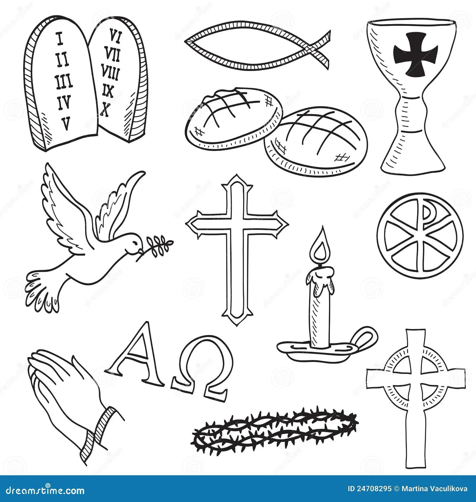 Kristen Tecknade Handillustrationsymboler Vektor Illustrationer