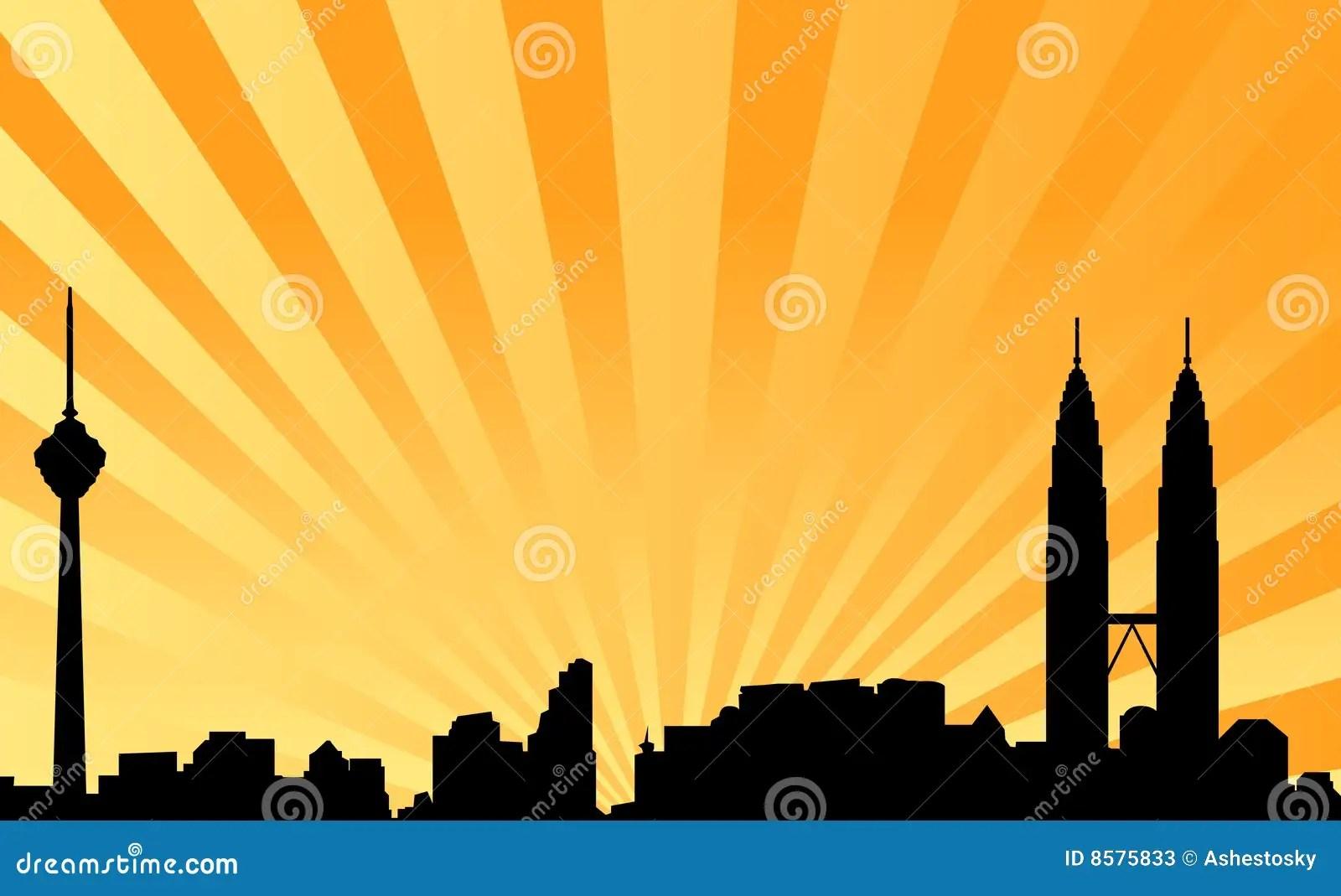 3d Wallpaper Malaysia Kuala Lumpur Skyline Vector Background Stock Photos