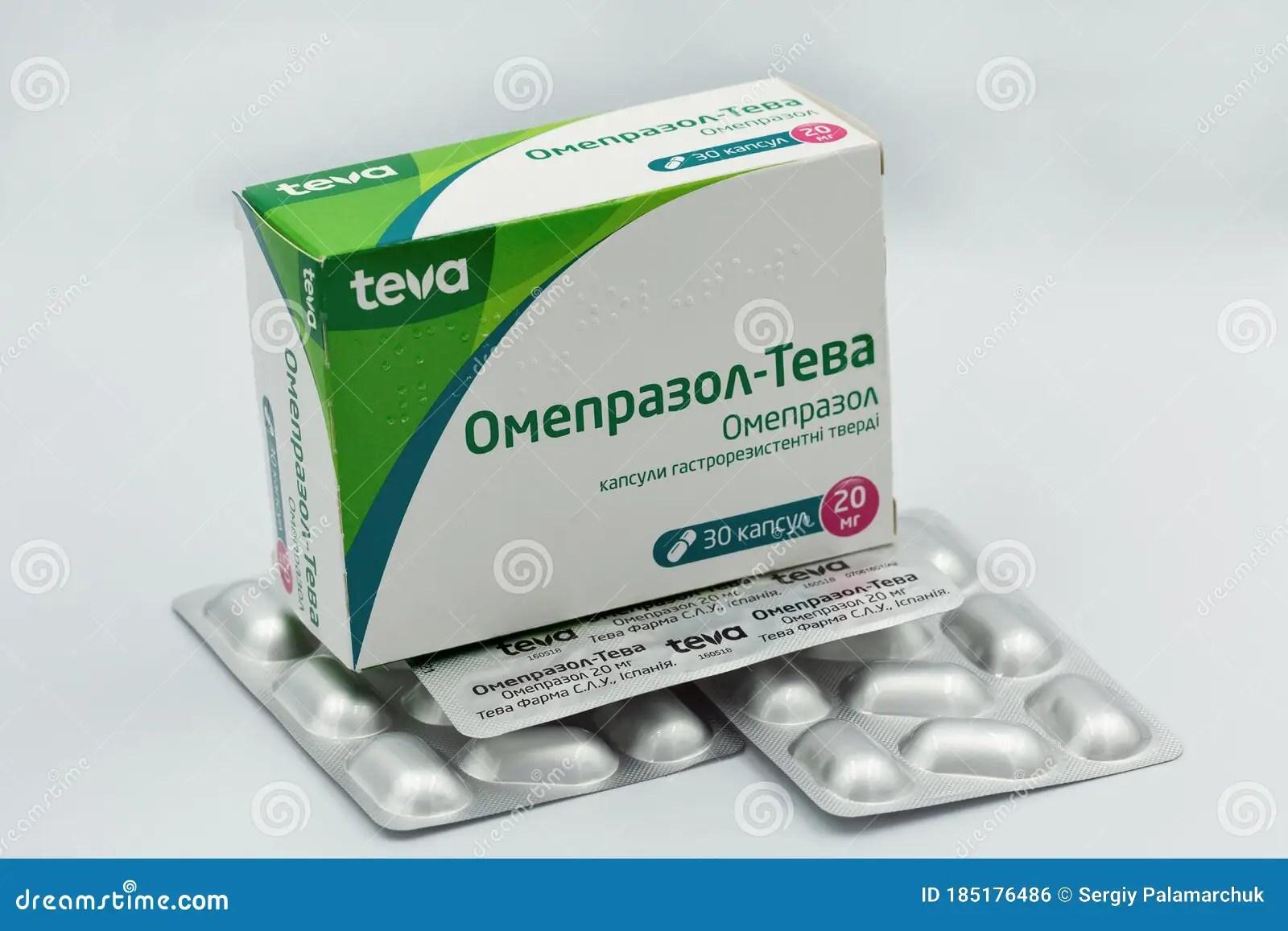 Omeprazole Generic Drug Box By Teva Closeup Against White ...