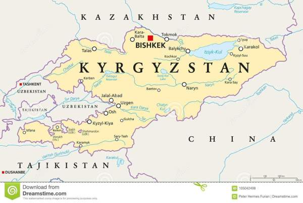 Kyrgyzstan Political Map stock vector Illustration of