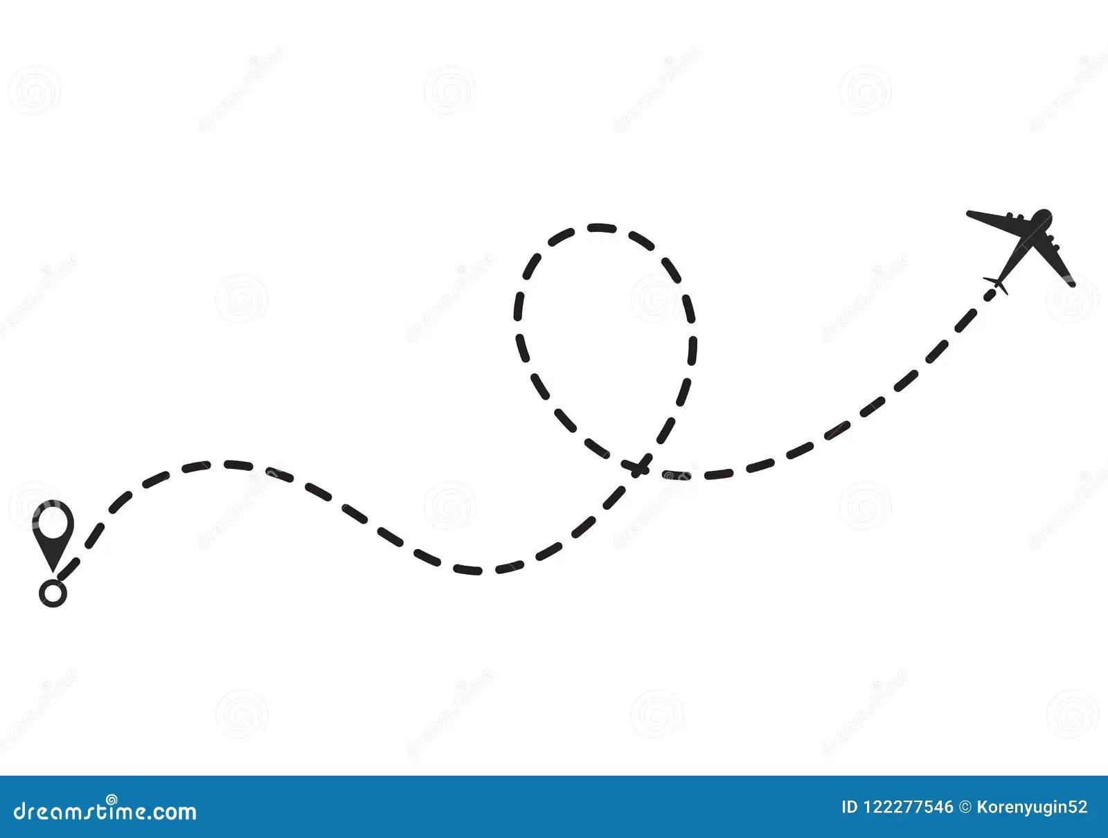 Linea Icono Del Aeroplano Del Vector De La Trayectoria De