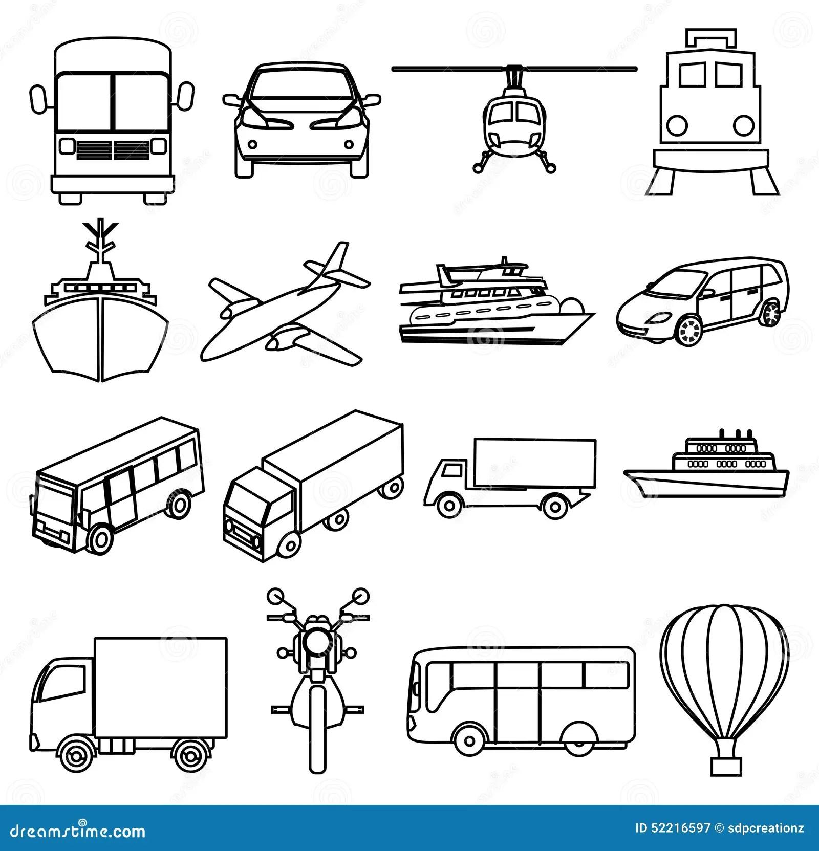 Linea Iconos De Los Vehiculos De Transporte Publico