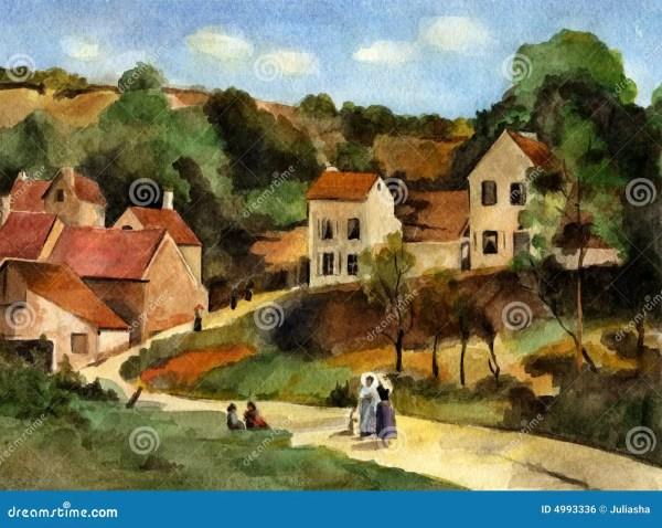 Hermitage at Pontoise Camille Pissarro Wallpaper