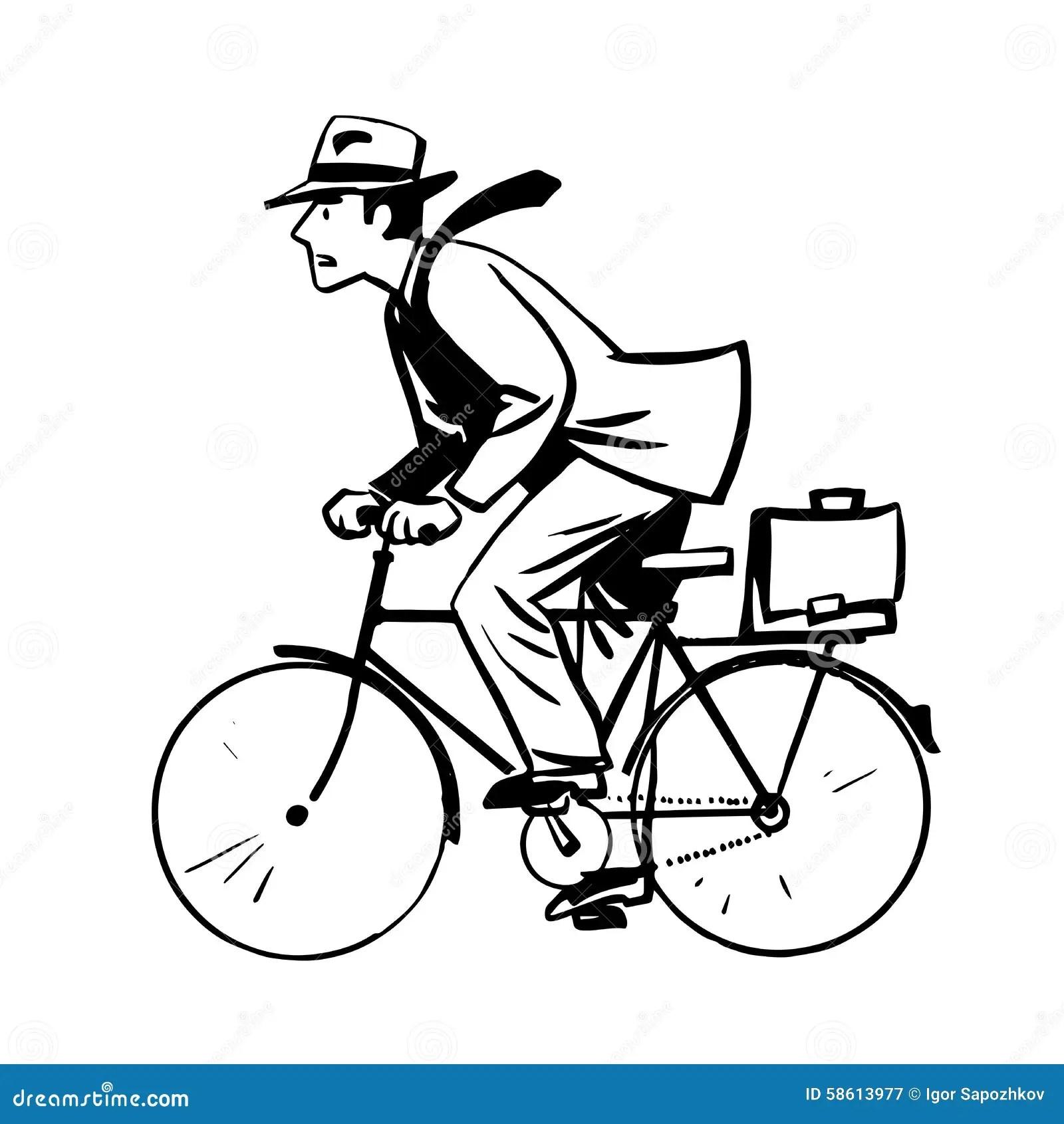 L'homme D'affaires Monte Rapidement Schéma Bicyclette