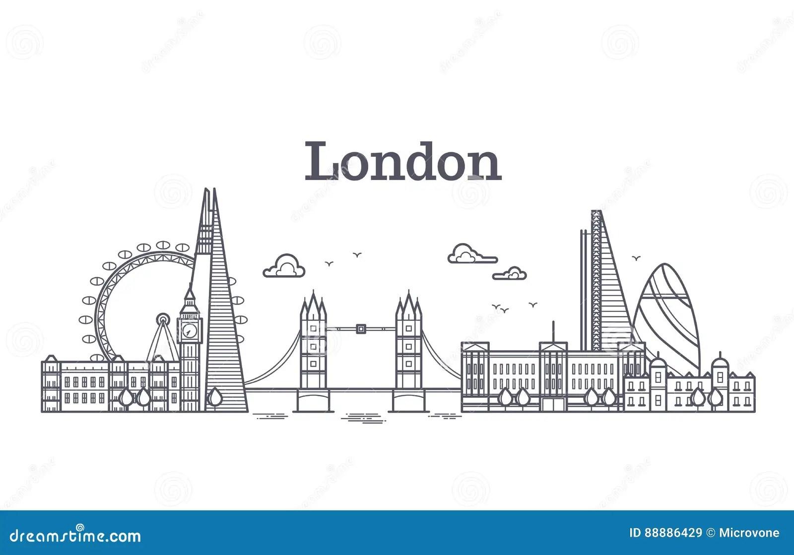 L'horizon De Ville De Londres Avec Les Bâtiments Célèbres