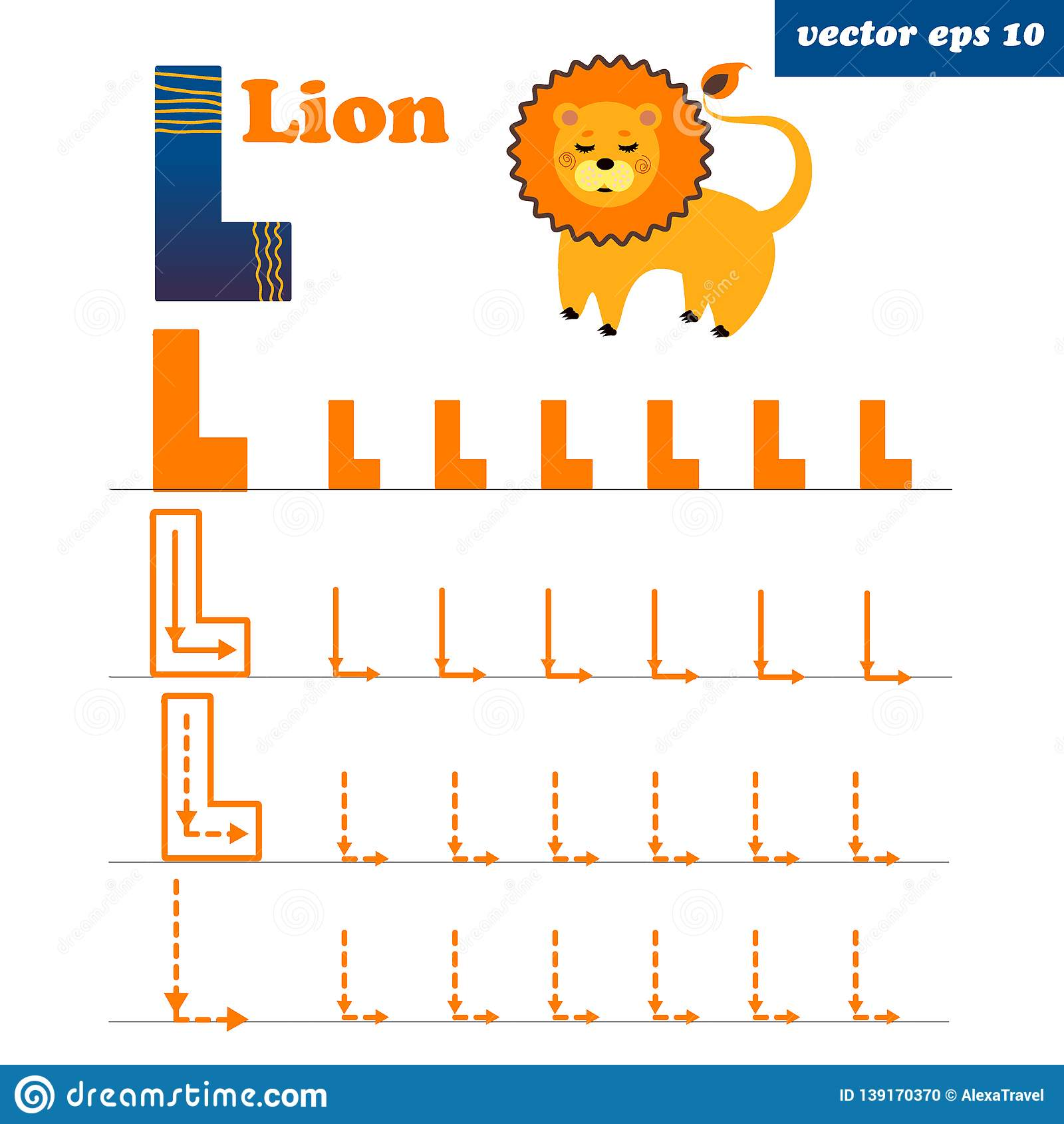 L Letter With Funny Cartoon Lion Character Stock Vector