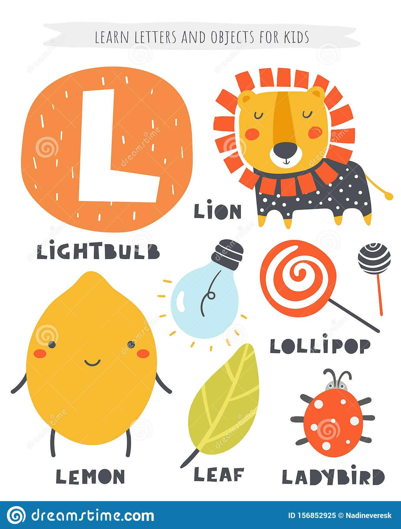 L Letter Objects And Animals Including Lion Lemon Light
