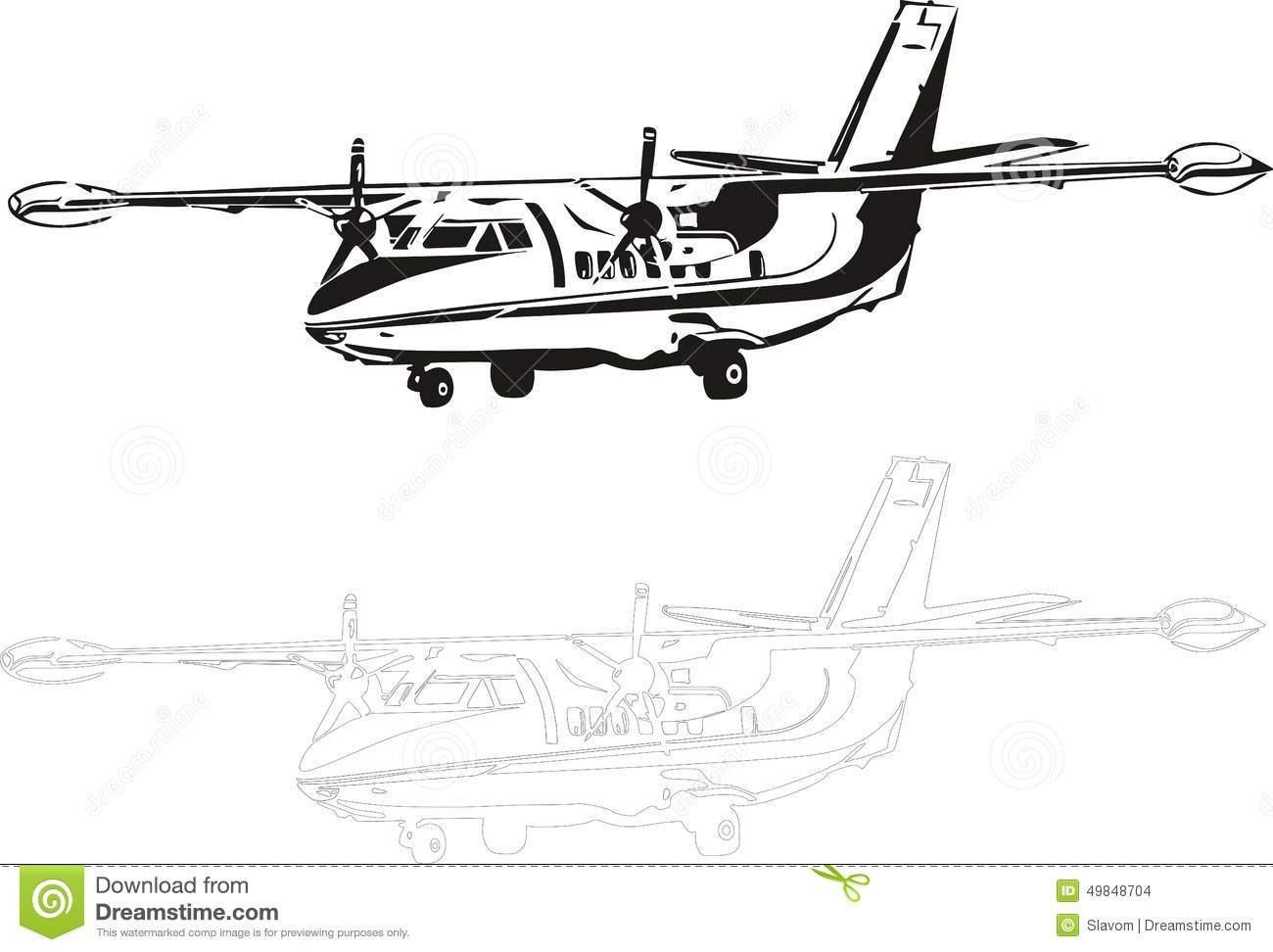 L 410 Stock Vector Illustration Of Airliner Aircraft