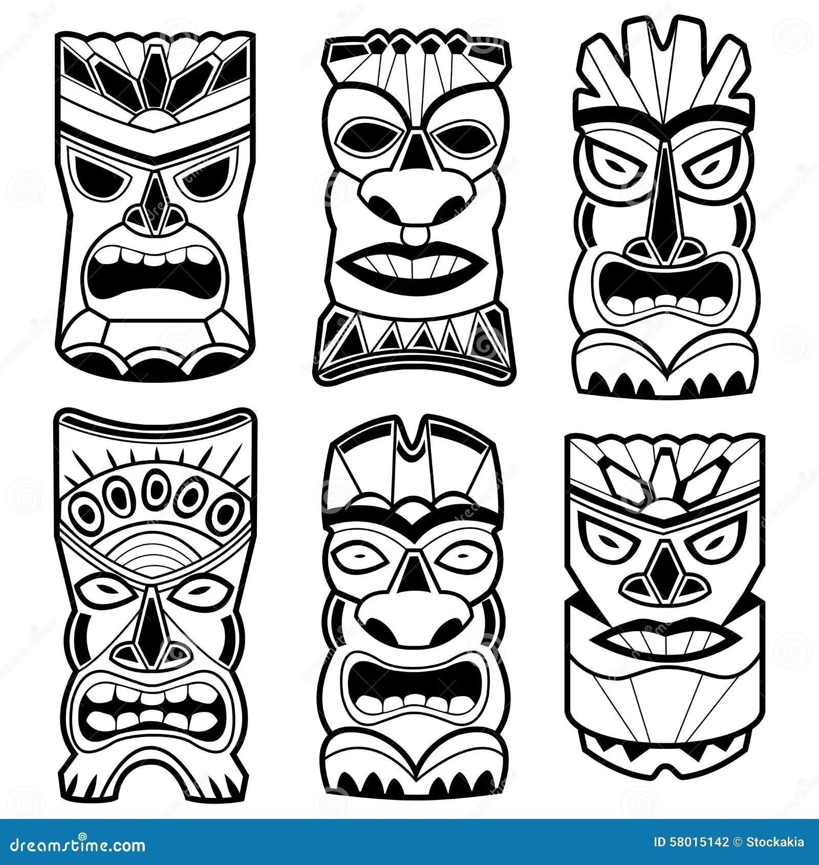 La Statue Hawaïenne De Tiki Masque L'ensemble Noir Et