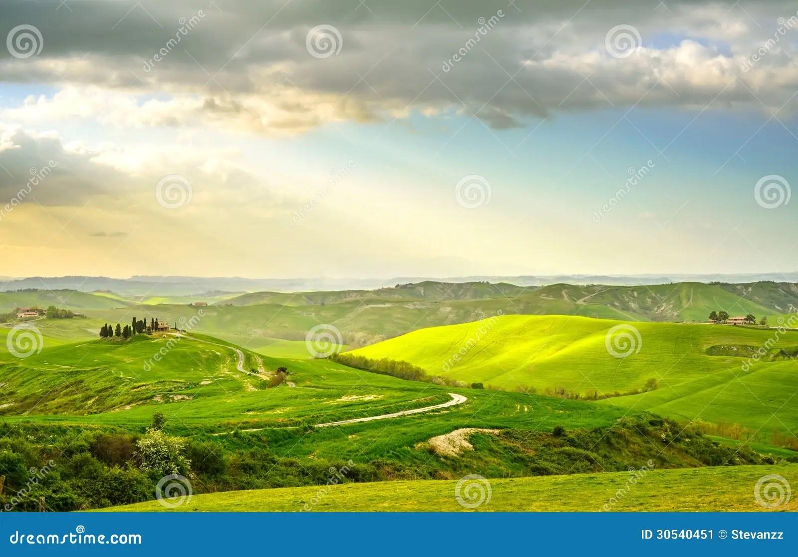 La Toscana Paesaggio Rurale Di Tramonto Azienda Agricola