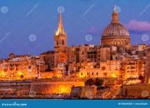 La Valletta Di Notte Malta Fotografia Stock - Immagine