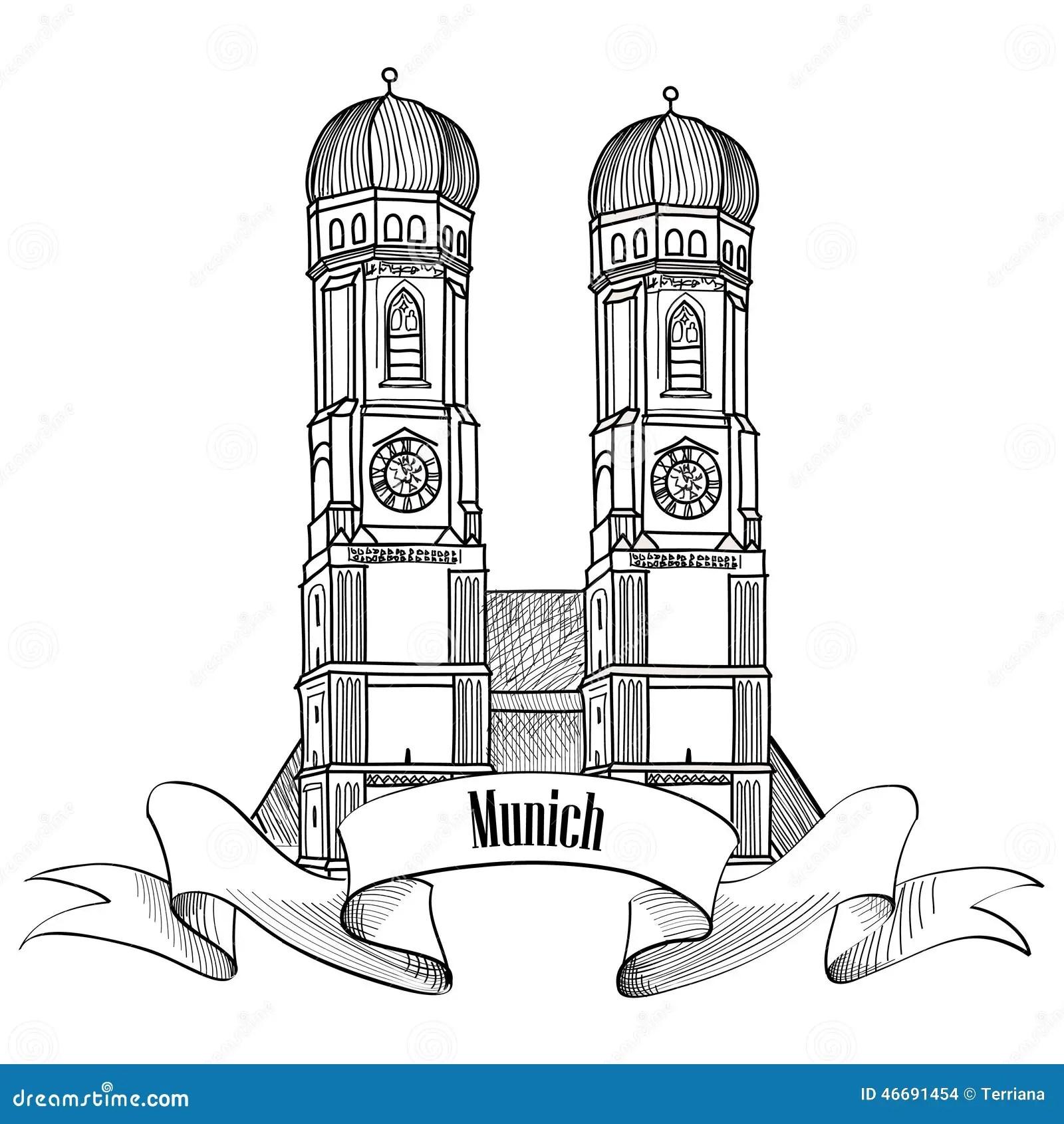 Label De Ville De Munich Croquis De Bâtiment De Cathédrale