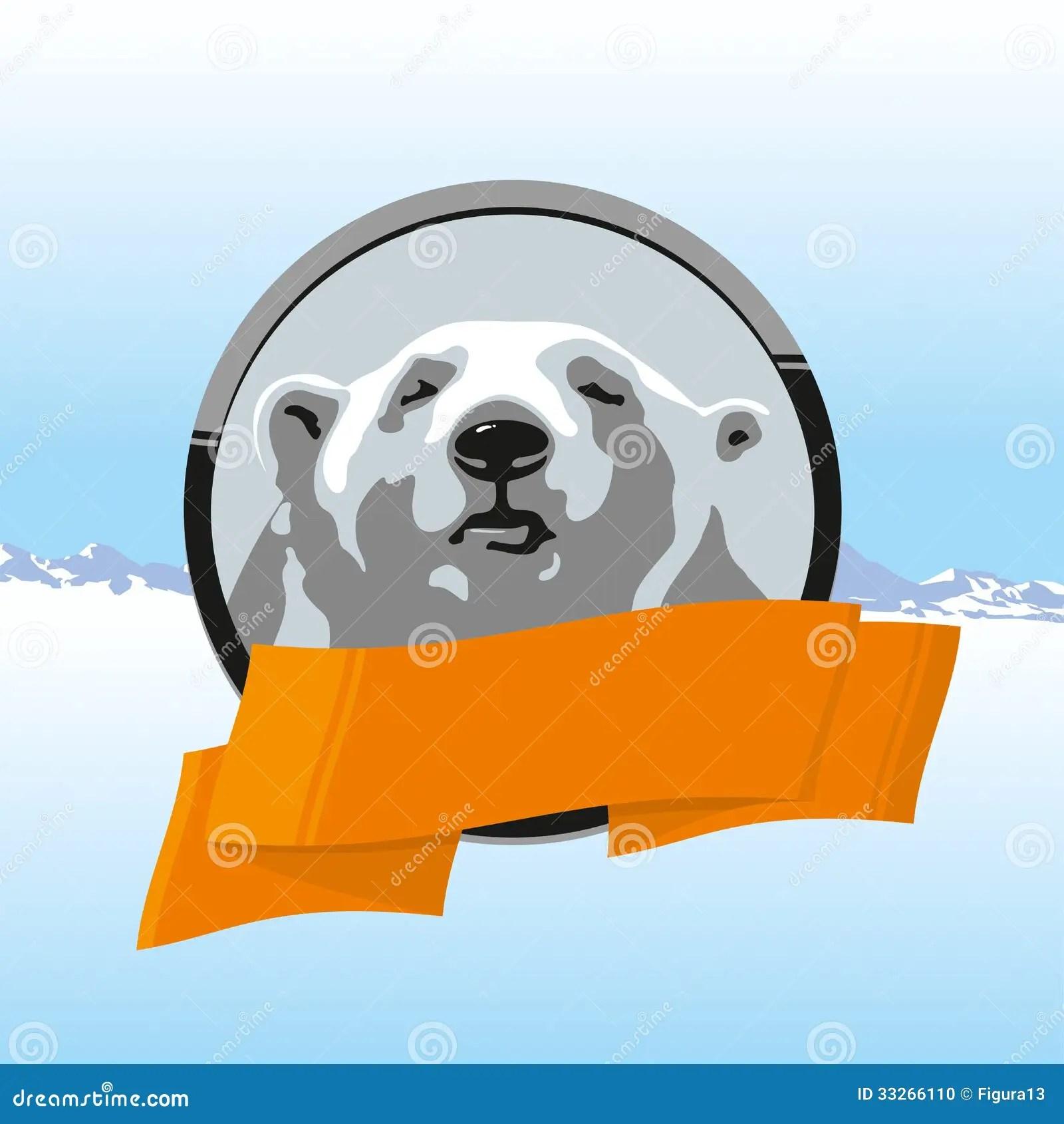 Label Polar Bear With Orange Ribbon Stock Photo
