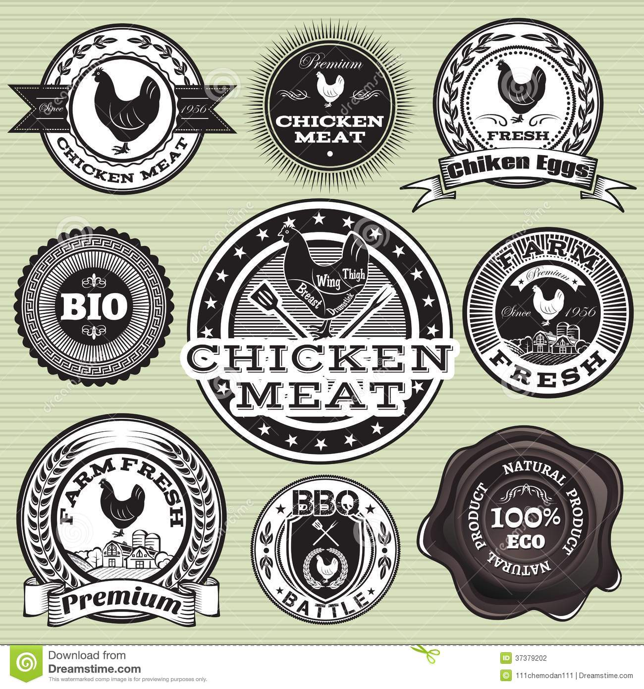 Labels With Chicken And Eggs Stock Vector