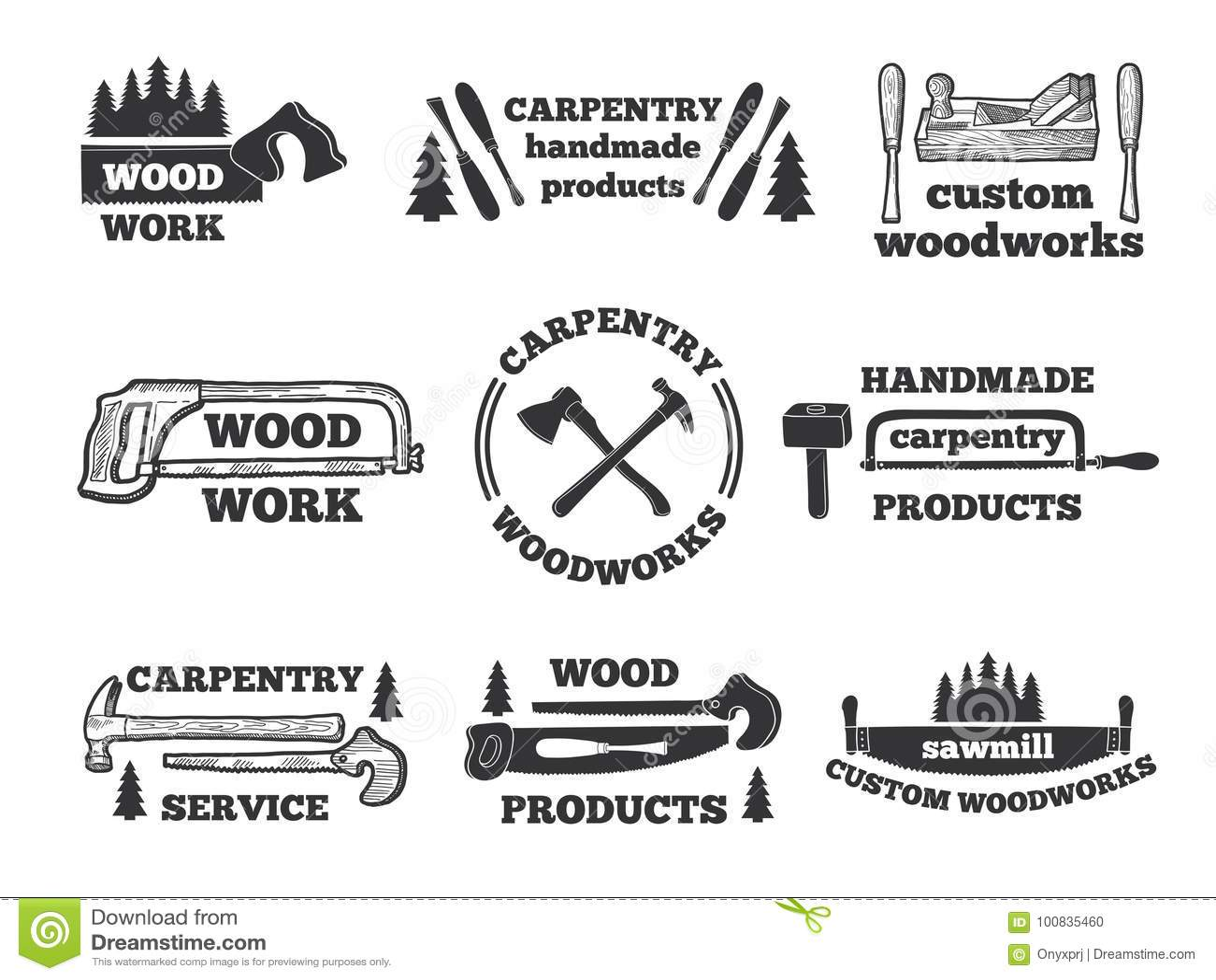 Monochrome Woodworking Icon Vector Illustration