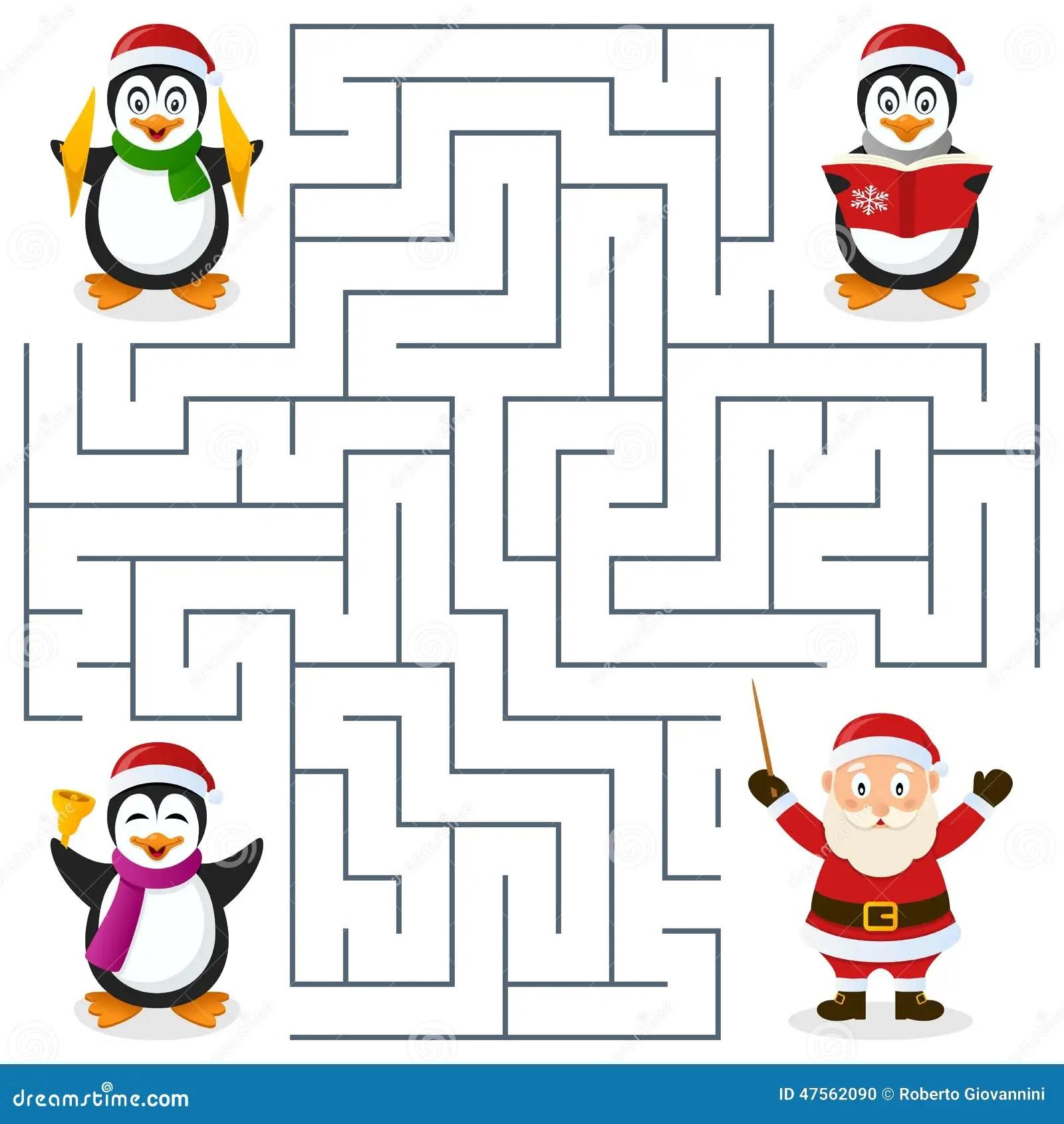Laberinto De Los Pinguinos De La Navidad Para Los Ninos