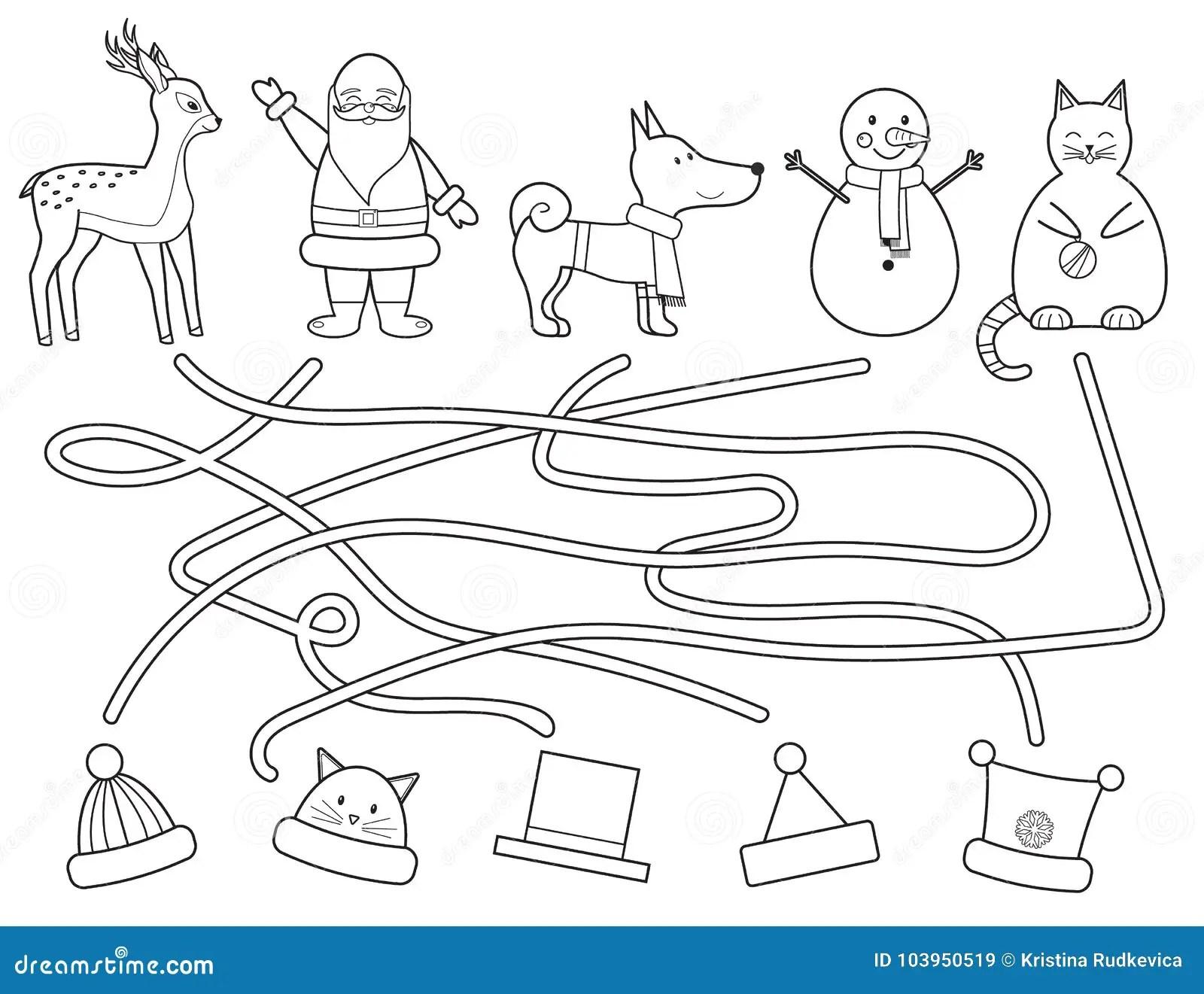 Labirinto Di Natale Del S Dei Bambini Di Coloritura