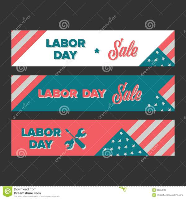 Labor Day Sale Banners Vector Illustration CartoonDealer