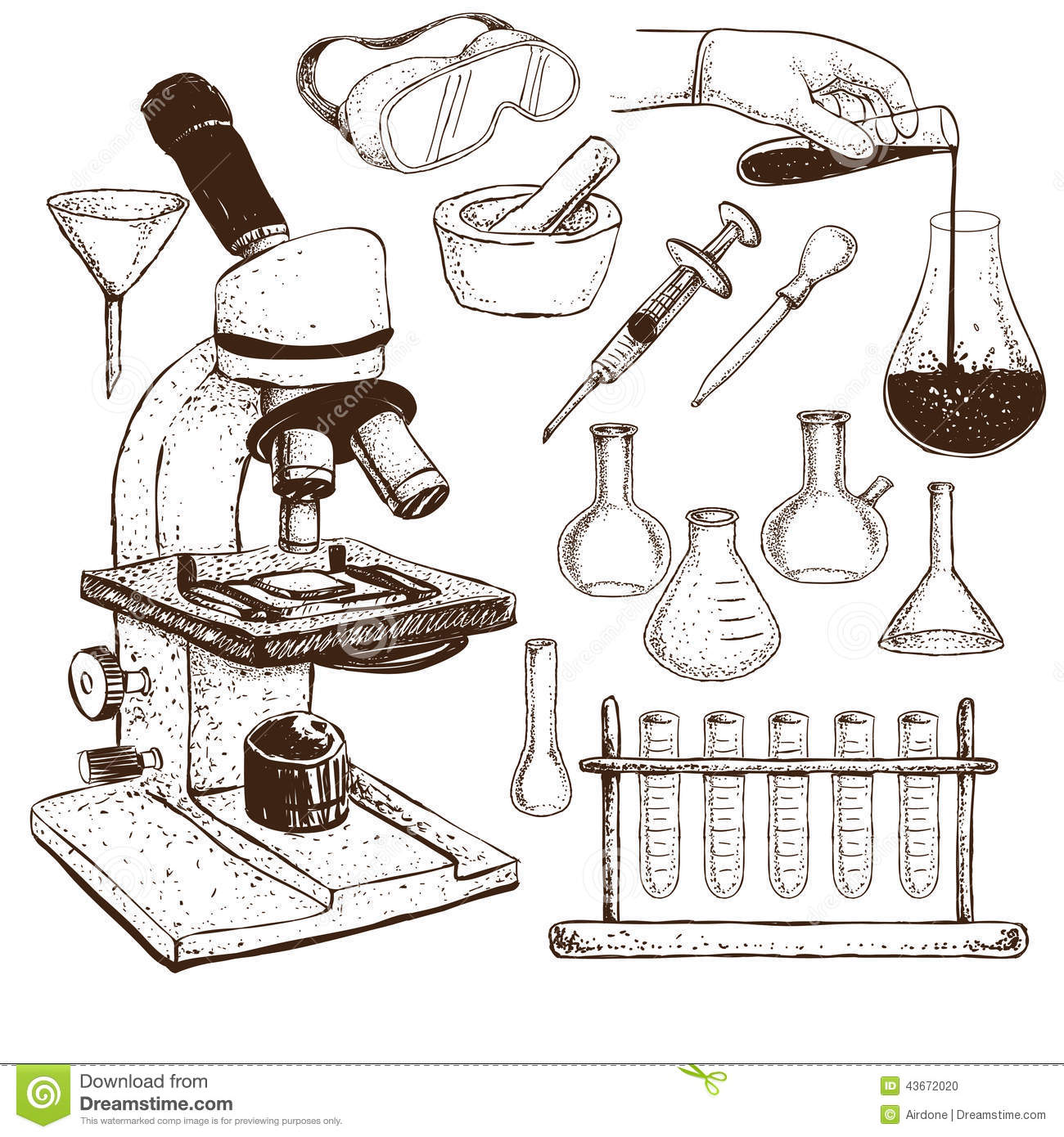Laboratory Equipment Doodle Stock Vector
