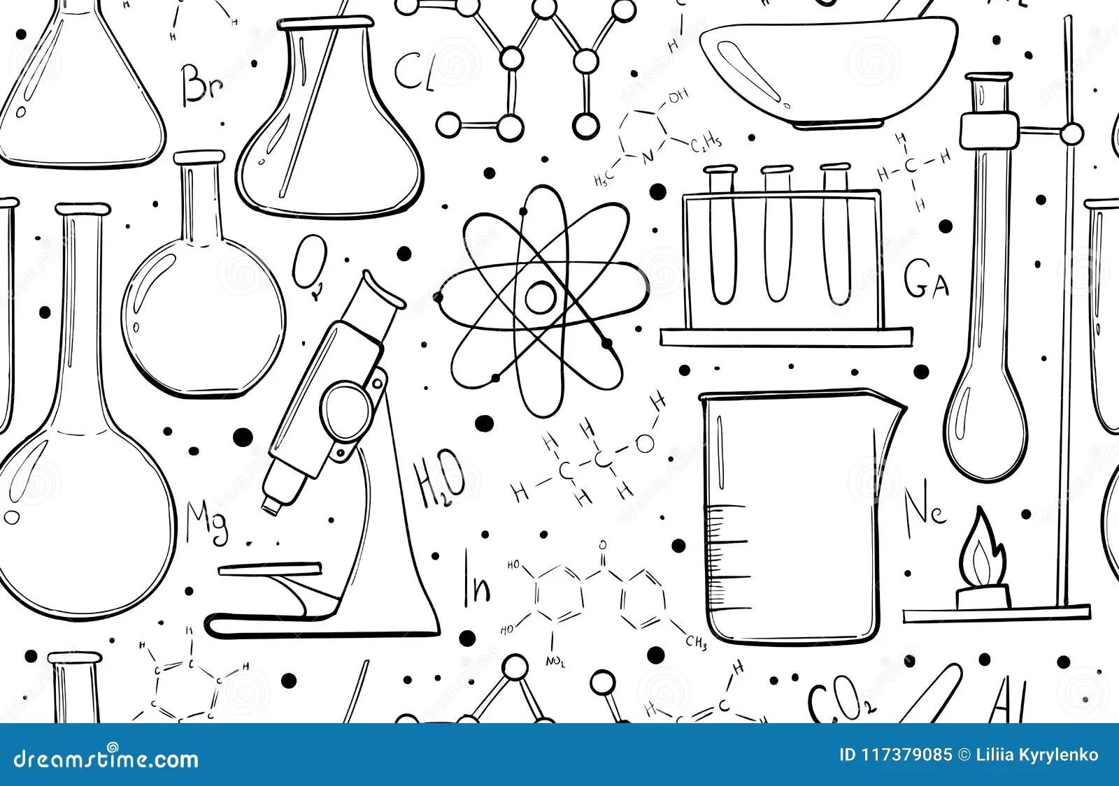 Laboratory Equipment Sketch Seamless Pattern. Science
