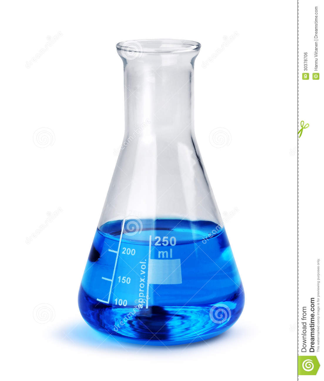 Laboratory Glass Beaker With Blue Liquid Sample Stock Photo
