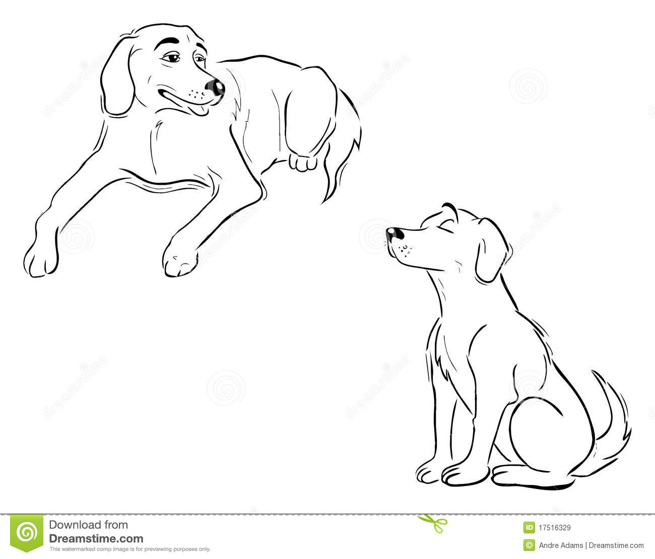 Labrador Dog Outlines Stock Vector Image Of Puppy