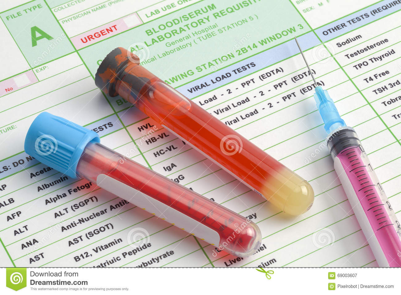 Labs Blood Work Stock Photo