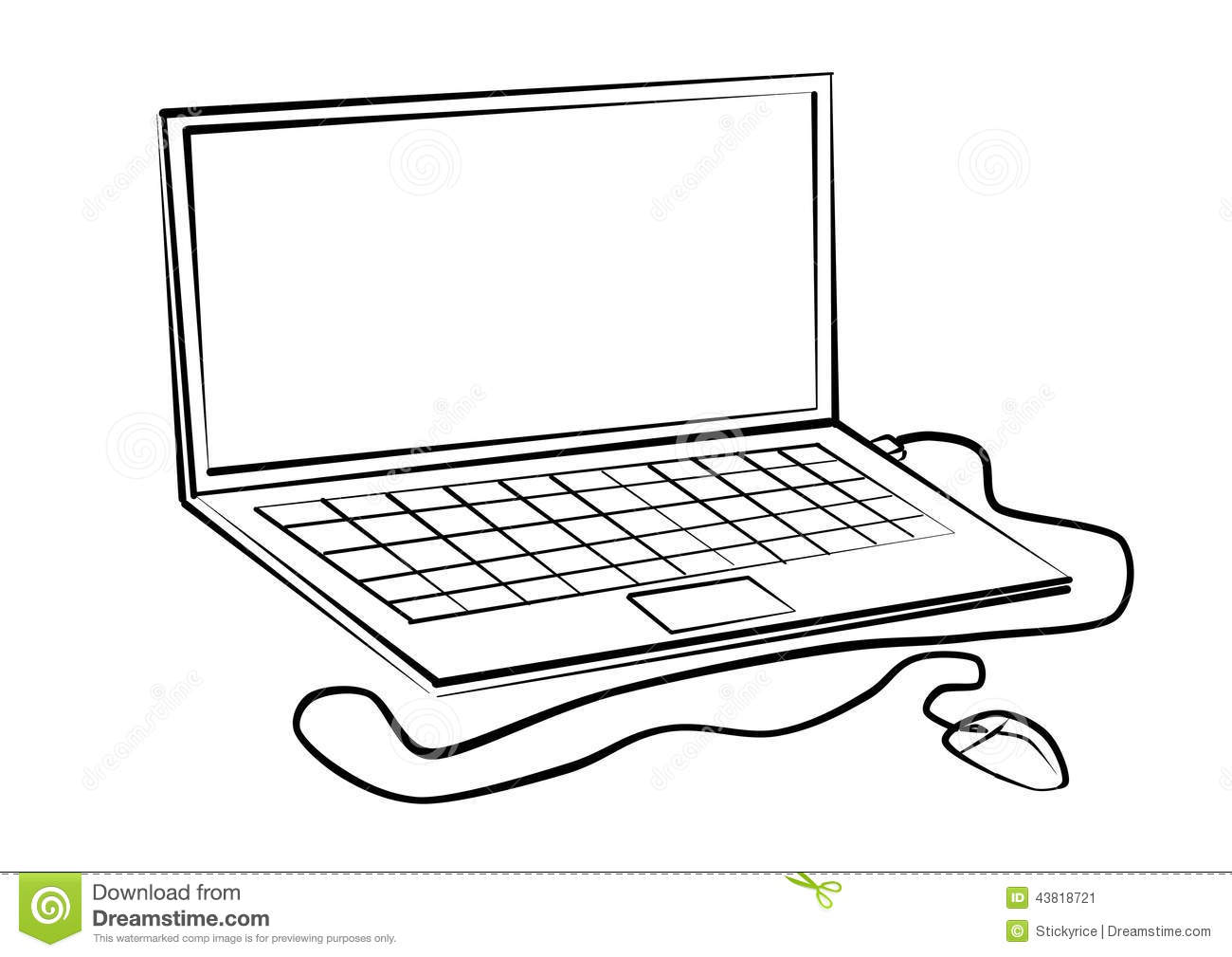 Labtop-line drawings stock image. Image of notebook, line