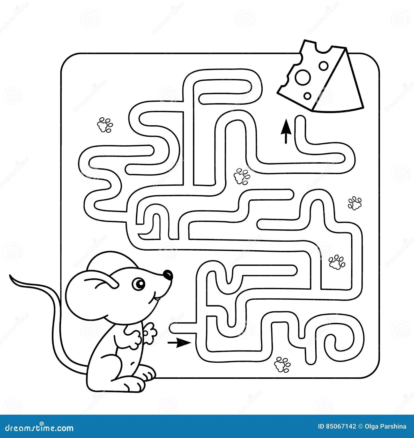 Labyrint Eller Labyrintlek For Forskole Barn Pussel Farga