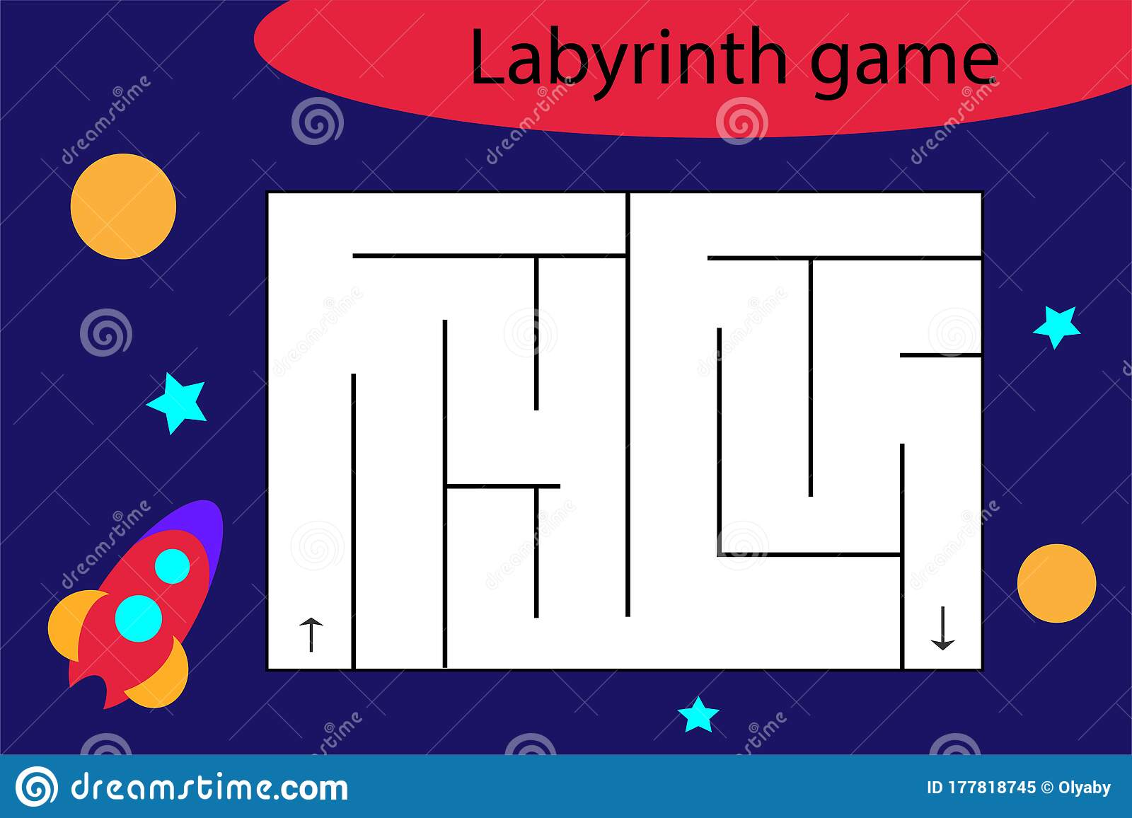 Labyrinth Game With Rocket Fun Education Worksheet For
