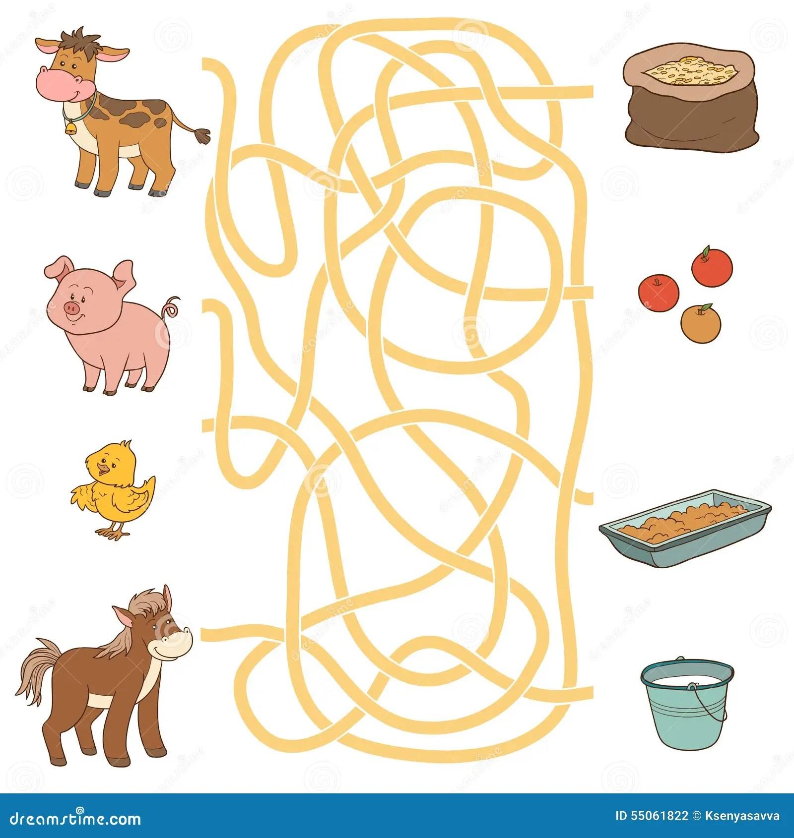 Labyrinthspiel Vieh Und Lebensmittel Kuh Schwein Huhn