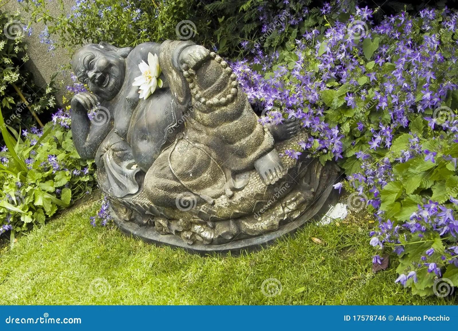 Buddha Statue Im Garten Buddha Figur Schiefergrau Stein Deko