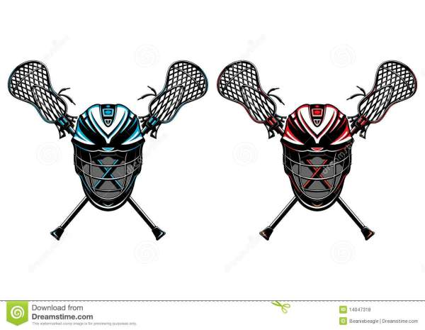 Lacrosse Helmets And Sticks Eps Royalty Free Stock