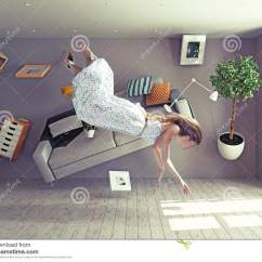 What Is A Zero Gravity Chair Royal Throne Lady Flies In Room Stock Photo - Image: 56908328