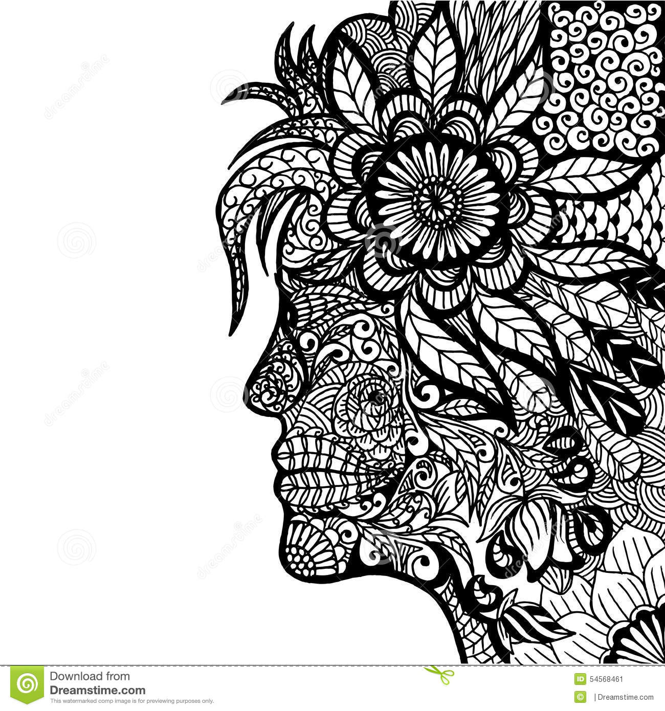 Lady Flower Zentangle Stock Vector Image 54568461