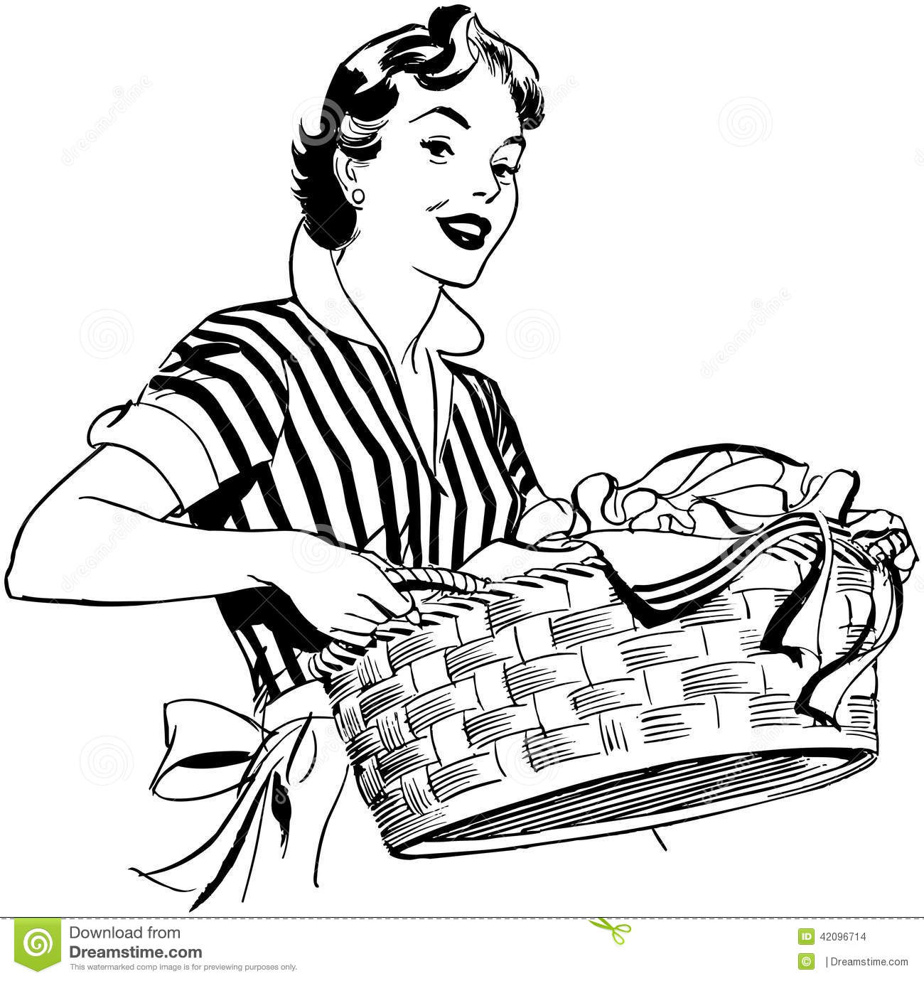Lady With Laundry Basket Stock Vector