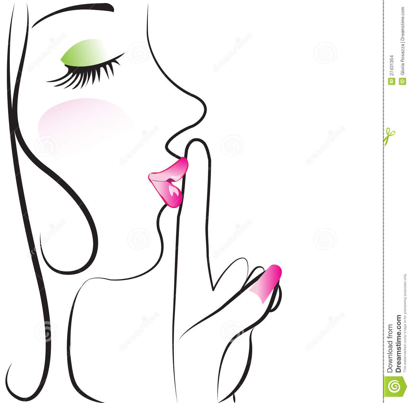Lady Making Silence Sign Logo Vector Stock Images
