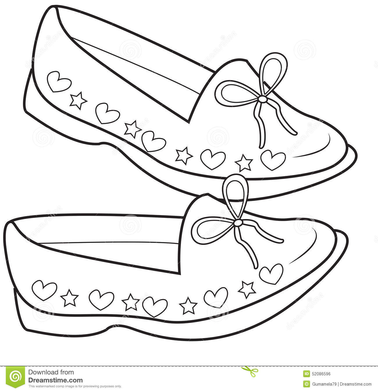 Lady S Shoes Coloring Page Stock Illustration