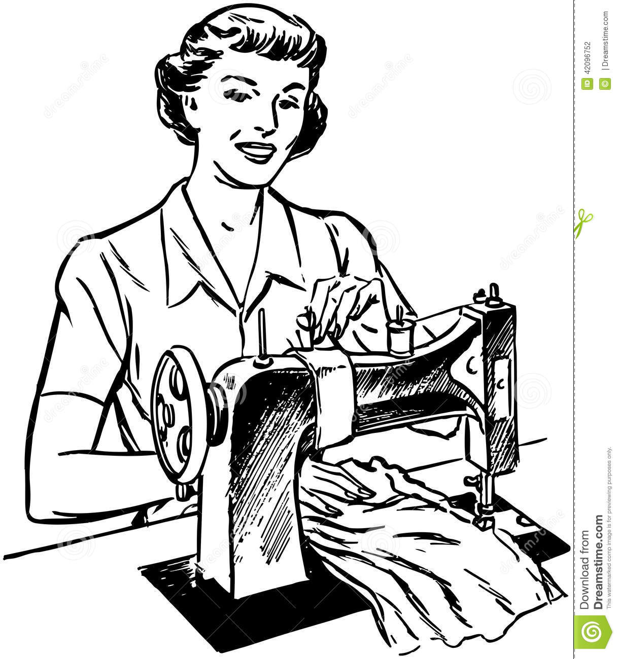 Lady Sewing Stock Vector Illustration Of Americana