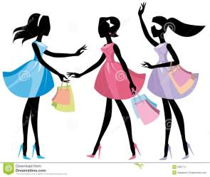 shopping lady bags vector walking silhouettes sketches illustration royalty poodle pregnant retail dreamstime