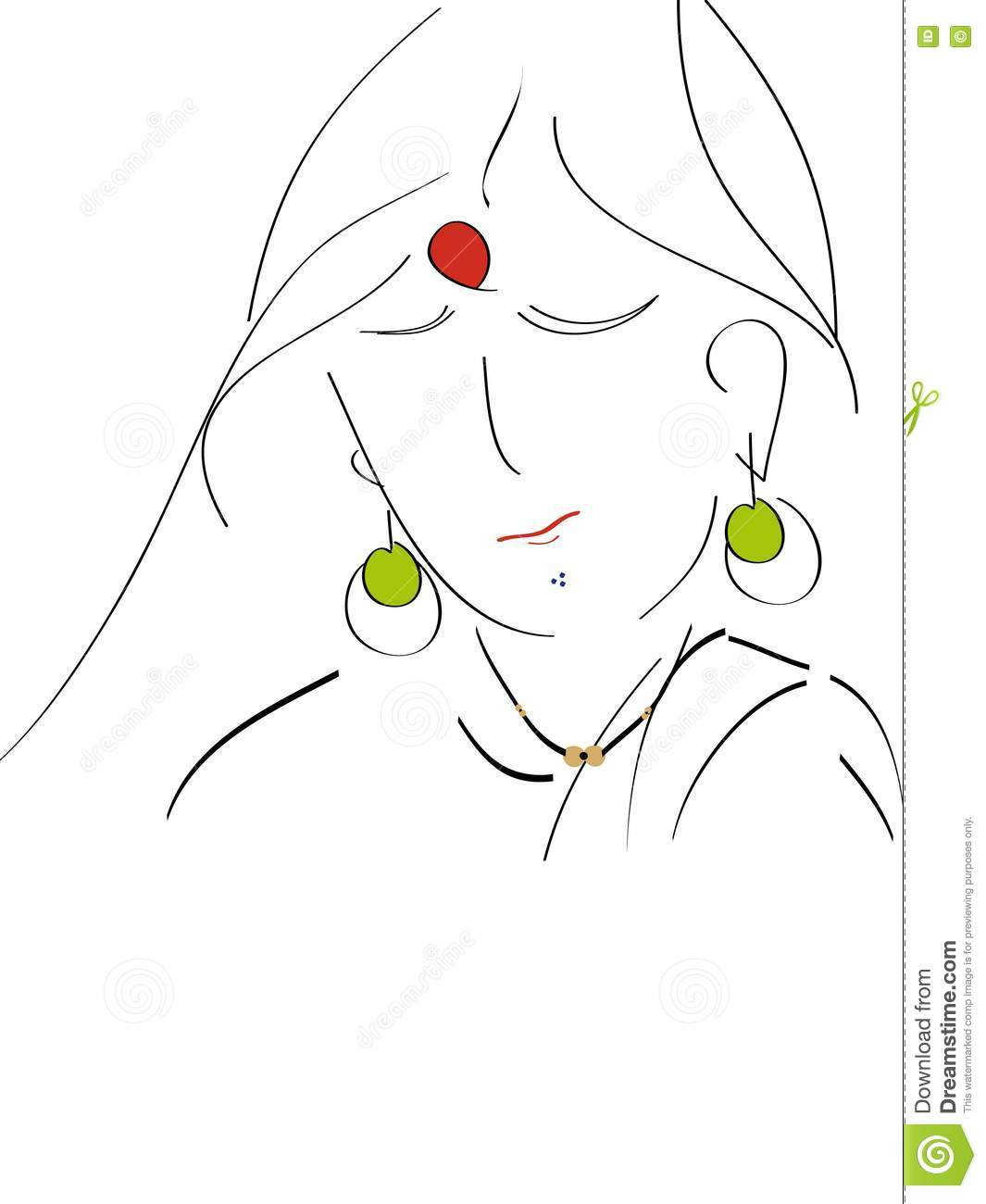 Lady Vector Outline Line Art Royalty Free Stock Image