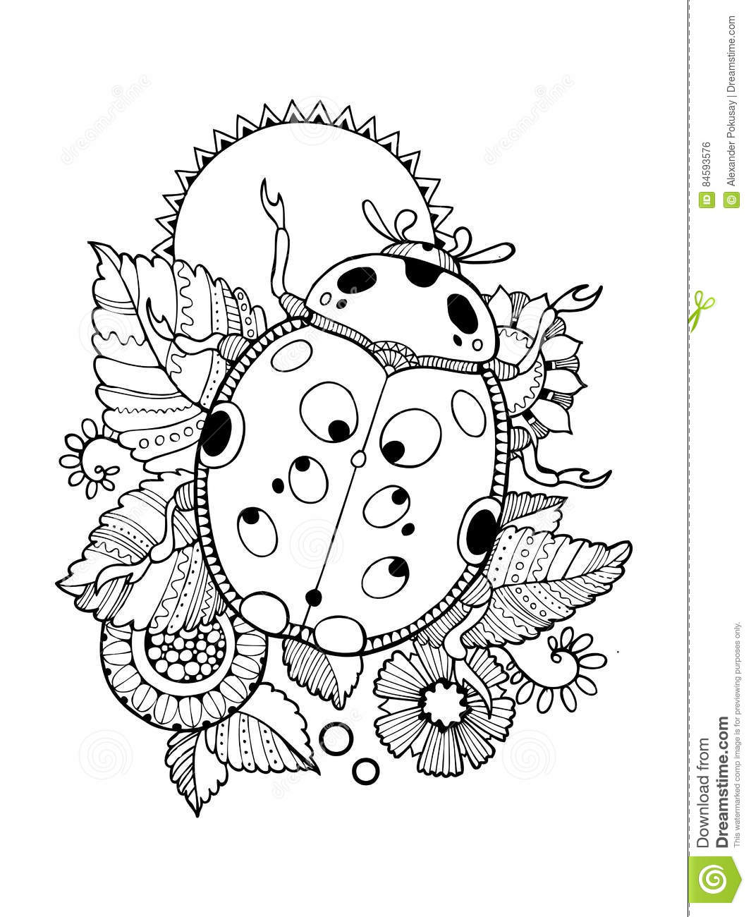 Ladybug Coloring Book Vector Illustration Stock Vector