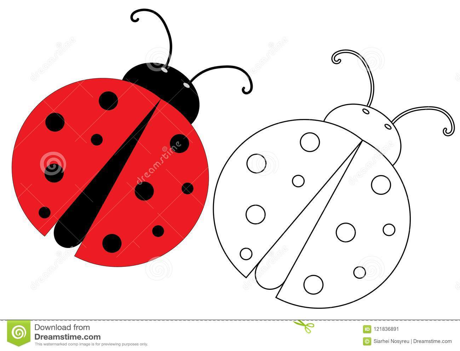 Ladybug Coloring Page Game For Kids Vector Illustration