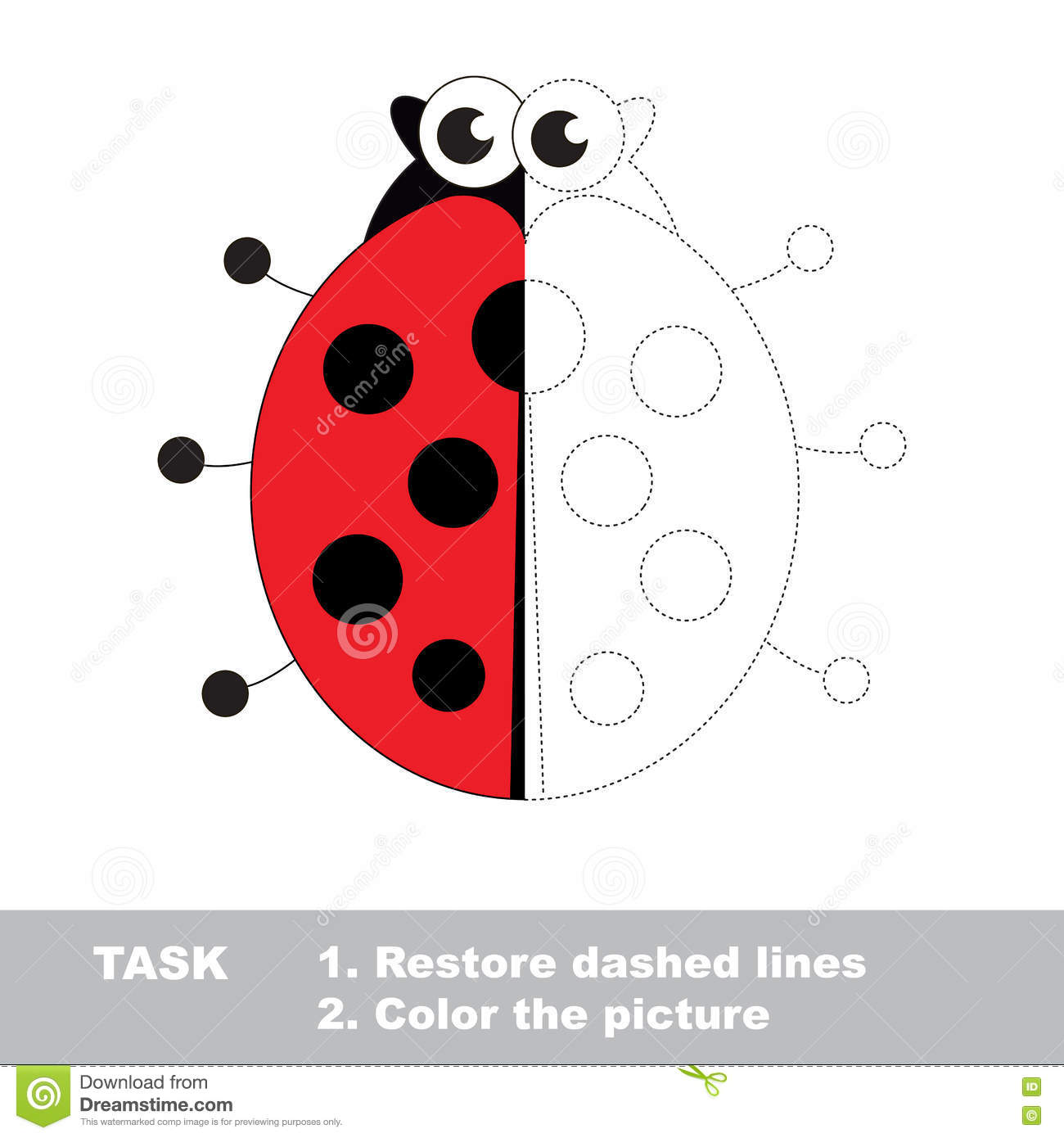 Ladybug To Be Colored Vector Trace Game Stock Vector